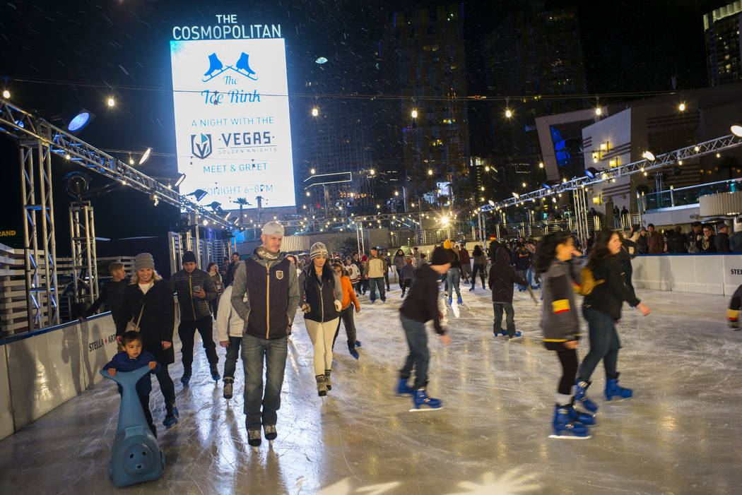 "People ice skate during the ""Night With the Golden Knights"" event at the ice rink at The Cosmopolitan of Las Vegas in Las Vegas on Wednesday, Dec. 6, 2017. Chase Stevens Las Vega ..."