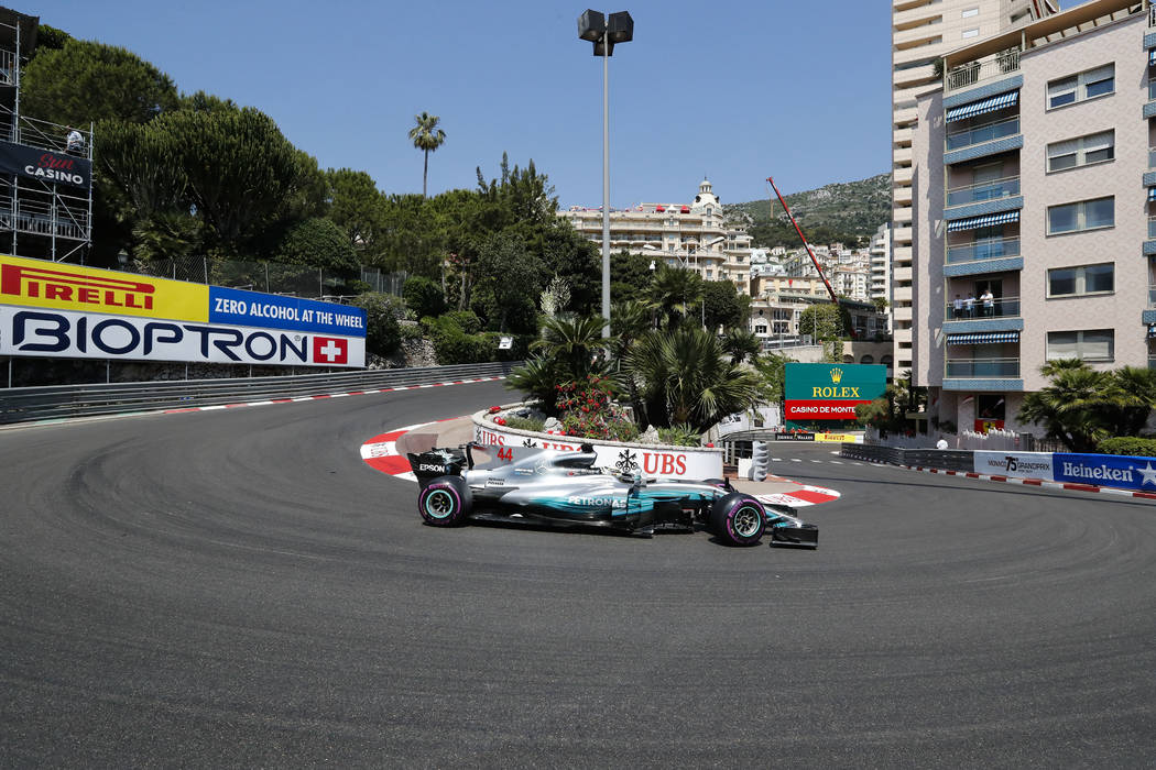 Mercedes driver Lewis Hamilton of Britain steers his car during the free practice for the Formula One Grand Prix at the Monaco racetrack in Monaco, Saturday, May 27, 2017. The Formula one race wil ...