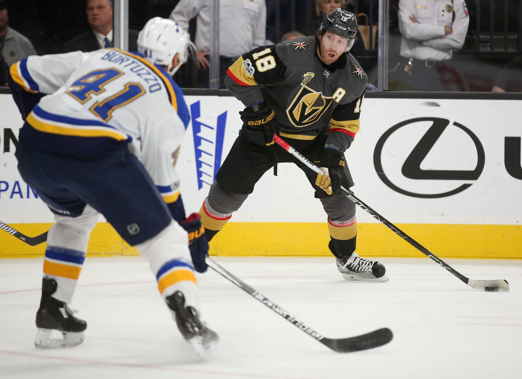 Vegas Golden Knights left wing James Neal (18) prepares to pass the puck during a game against St. Louis Blues at T-Mobile Arena in Las Vegas, Saturday, Oct. 21, 2017. Bridget Bennett Las Vegas Re ...