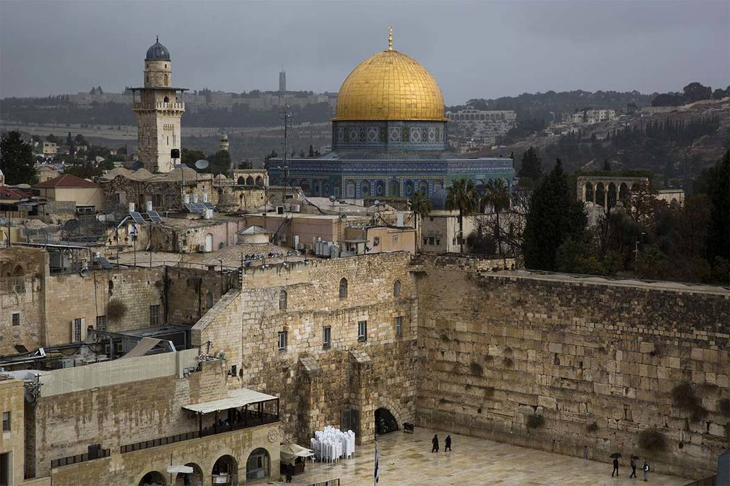 A view of the Western Wall and the Dome of the Rock, some of the holiest sites for for Jews and Muslims, is seen in Jerusalem's Old City, Wednesday, Dec. 6, 2017.  (AP Photo/Oded Balilty)