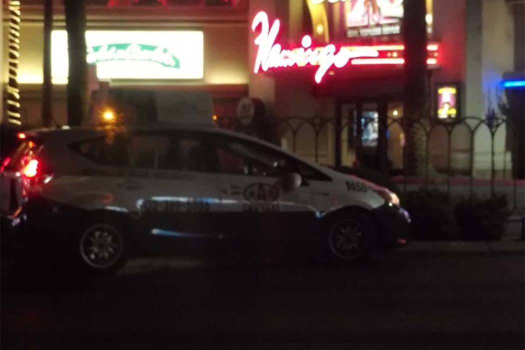 A pedestrian outside a crosswalk was hit by a vehicle on the Las Vegas Strip early Thursday. (Max MIchor/Las Vegas Review-Journal)