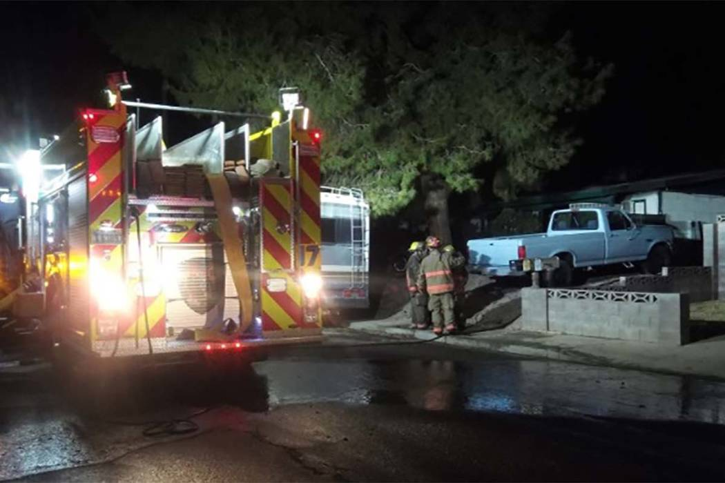 A fire broke out at 4556 Rita Drive early Thursday. (Max MIchor/Las Vegas Review-Journal)