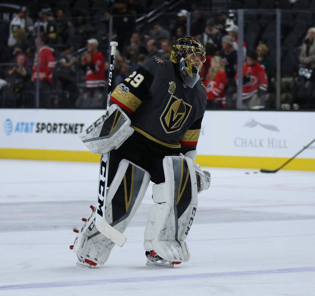Vegas Golden Knights goalie Marc-Andre Fleury (29) warms up before facing the Carolina Hurricanes in Las Vegas, Tuesday, Dec. 12, 2017. Heidi Fang Las Vegas Review-Journal @HeidiFang