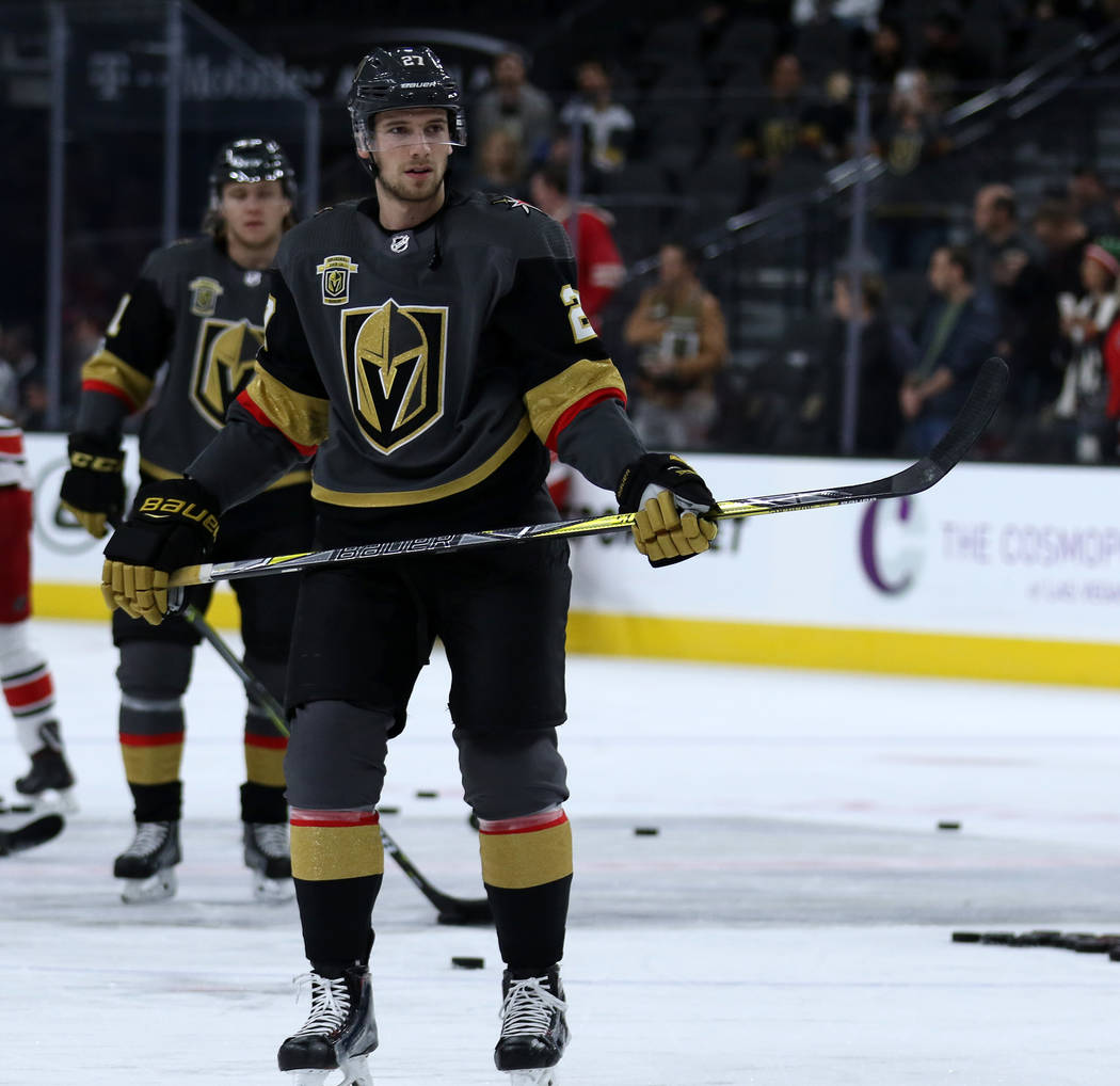 Vegas Golden Knights defenseman Shea Theodore (27) warms up before facing the Carolina Hurricanes at the T-Mobile Arena in Las Vegas, Tuesday, Dec. 12, 2017. Heidi Fang Las Vegas Review-Journal @H ...