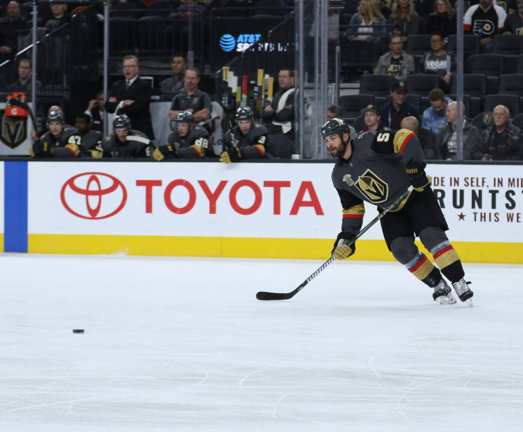 Vegas Golden Knights defenseman Deryk Engelland (5) handles the puck during the first period of a NHL game against the Carolina Hurricanes in Las Vegas, Tuesday, Dec. 12, 2017. Heidi Fang Las Vega ...