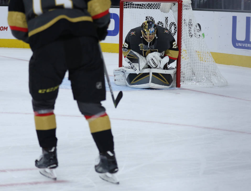 Vegas Golden Knights goalie Marc-Andre Fleury (29) attempts to make a save during the first period of a NHL game against the Carolina Hurricanes in Las Vegas, Tuesday, Dec. 12, 2017. Heidi Fang La ...