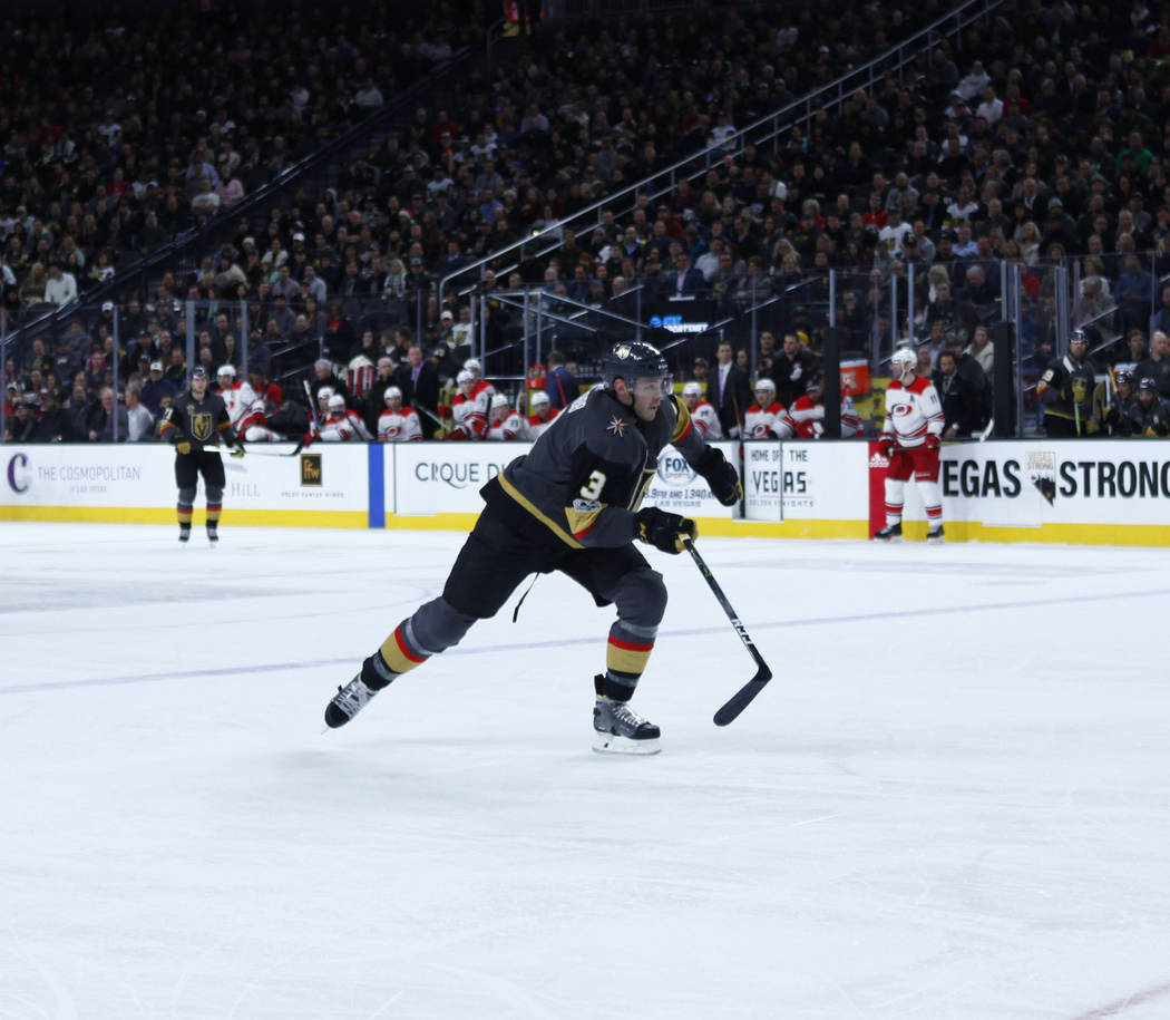 Vegas Golden Knights defenseman Brayden McNabb (3) skates on the ice during the first period of a NHL game against the Carolina Hurricanes in Las Vegas, Tuesday, Dec. 12, 2017. Heidi Fang Las Vega ...