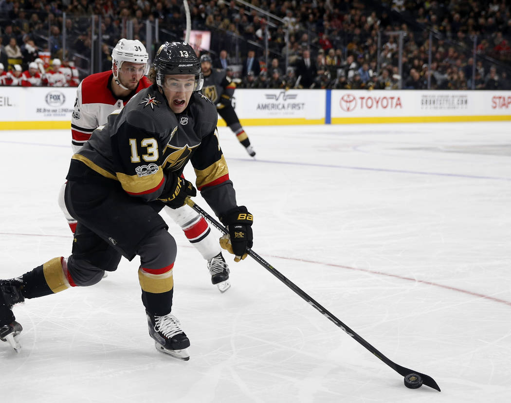 Vegas Golden Knights left wing Brendan Leipsic takes control of the puck during the third period of an NHL hockey game against the Carolina Hurricanes, Tuesday, Dec. 12, 2017, in Las Vegas. (AP Ph ...