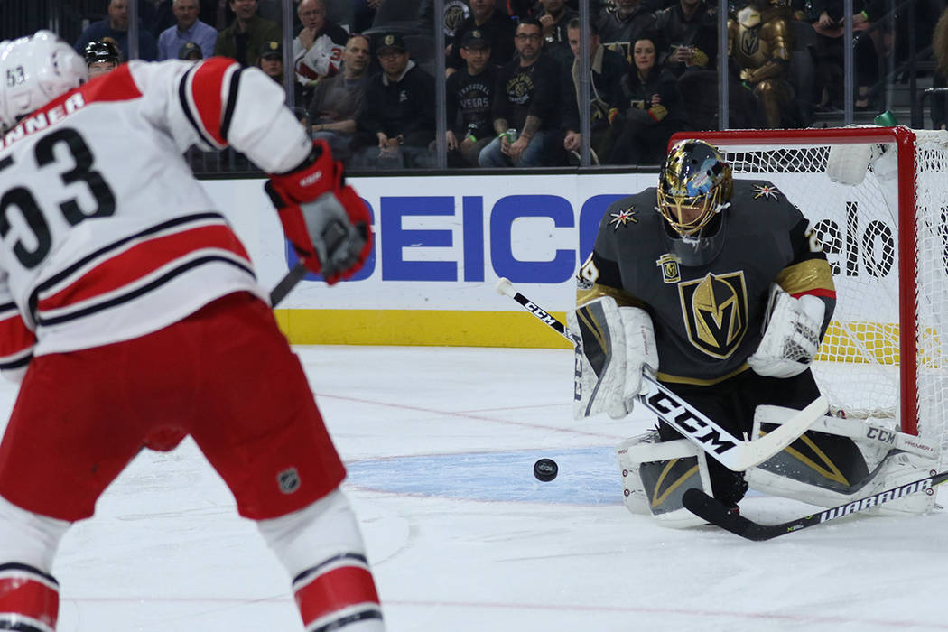 Vegas Golden Knights goalie Marc-Andre Fleury (29) makes a save during the first period of a NHL game against the Carolina Hurricanes in Las Vegas, Tuesday, Dec. 12, 2017. Heidi Fang Las Vegas Rev ...