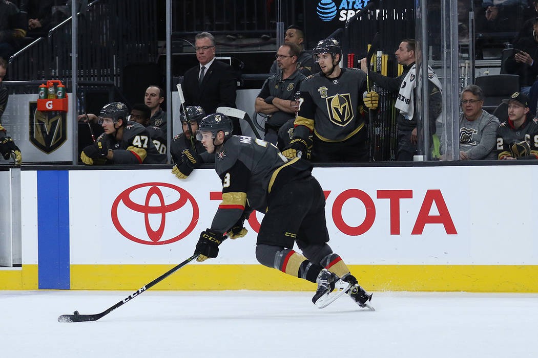 Vegas Golden Knights defenseman Brayden McNabb (3) skates with the puck during the first period of a NHL game against the Carolina Hurricanesin Las Vegas, Tuesday, Dec. 12, 2017. Heidi Fang Las Ve ...