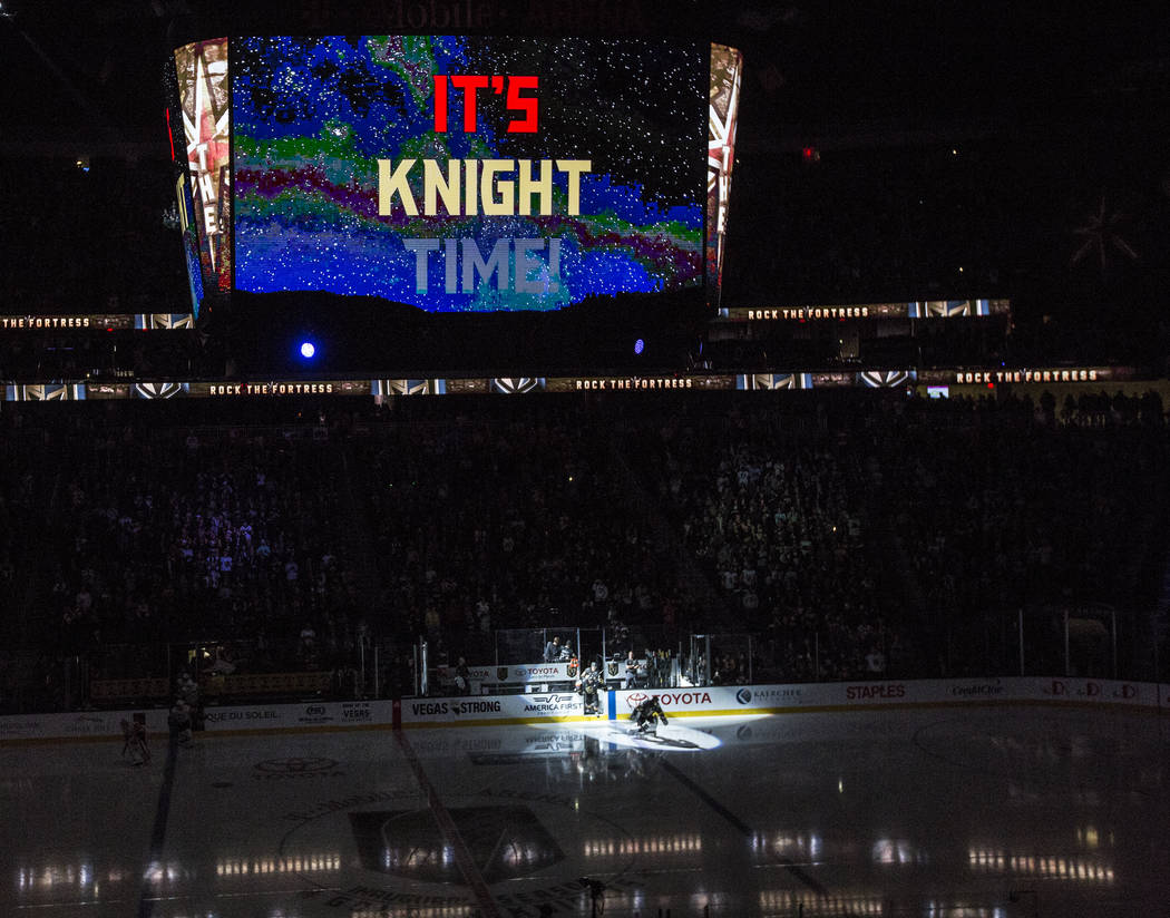 Golden Knights goaltender Marc-Andre Fleury (29) is announced before the start of Vegas' home matchup with the Pittsburgh Penguins on Thursday, Dec. 14, 2017, at T-Mobile Arena, in Las Vegas. The  ...