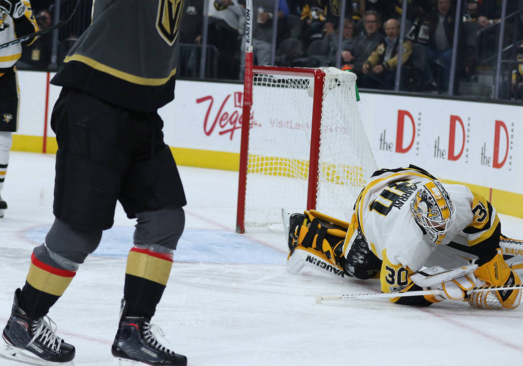 Pittsburgh Penguins goalie Matt Murray (30) remains on the ice after Vegas Golden Knights left wing James Neal (18), not pictured, scores a goal during the first period of a NHL game in Las Vegas, ...