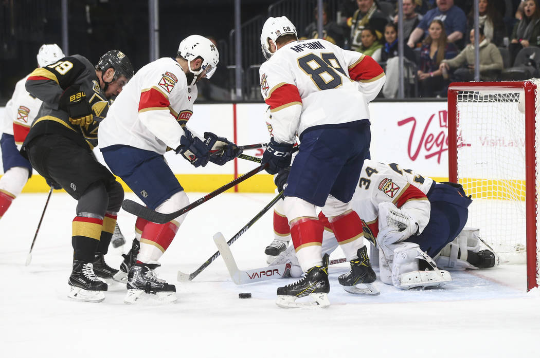 Golden Knights' Reilly Smith (19) tries to score against the Florida Panthers during an NHL hockey game at T-Mobile Arena in Las Vegas on Sunday, Dec. 17, 2017. Chase Stevens Las Vegas Review-Jour ...