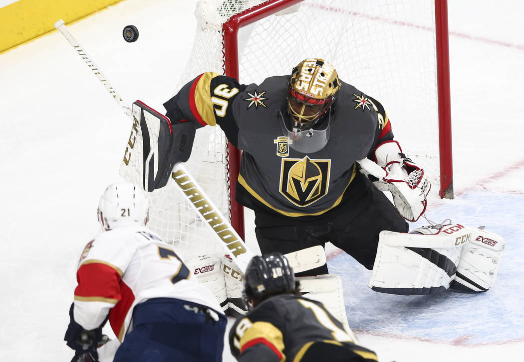Golden Knights goalie Malcolm Subban (30) defends against the Florida Panthers during an NHL hockey game at T-Mobile Arena in Las Vegas on Sunday, Dec. 17, 2017. Chase Stevens Las Vegas Review-Jou ...