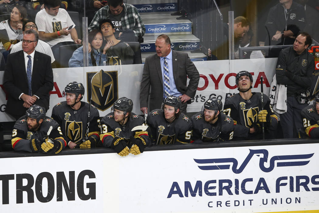 Golden Knights head coach Gerard Gallant on the bench as his team takes on the Florida Panthers during an NHL hockey game at T-Mobile Arena in Las Vegas on Sunday, Dec. 17, 2017. Chase Stevens Las ...