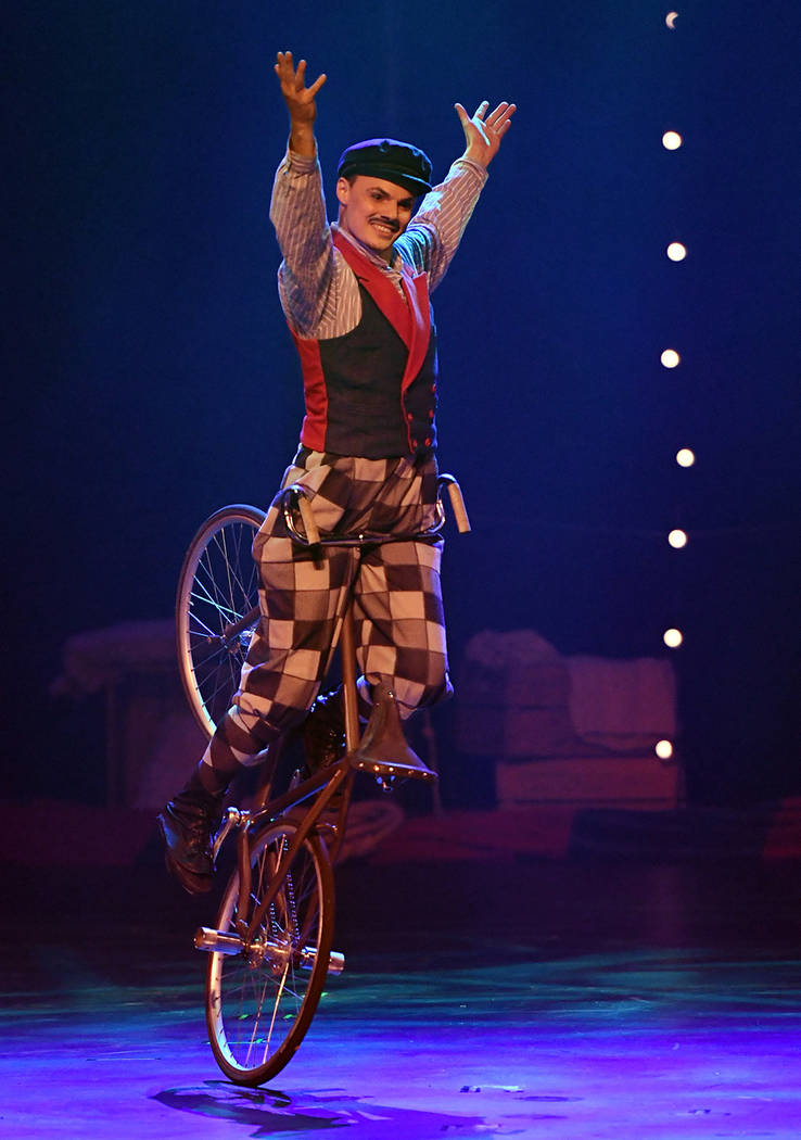 "Florian ""The Cycling Cyclone"" Blummel performs during the opening night of ""Circus 1903."" (Ethan Miller/Getty Images for ""Circus 1903"" At Paris Las Vegas)"