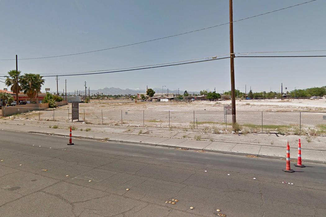 A 3.65-acre chunk of land near the northwest corner of Las Vegas and Lake Mead boulevards, adjacent to a Rebel Oil service station. Google Street View.
