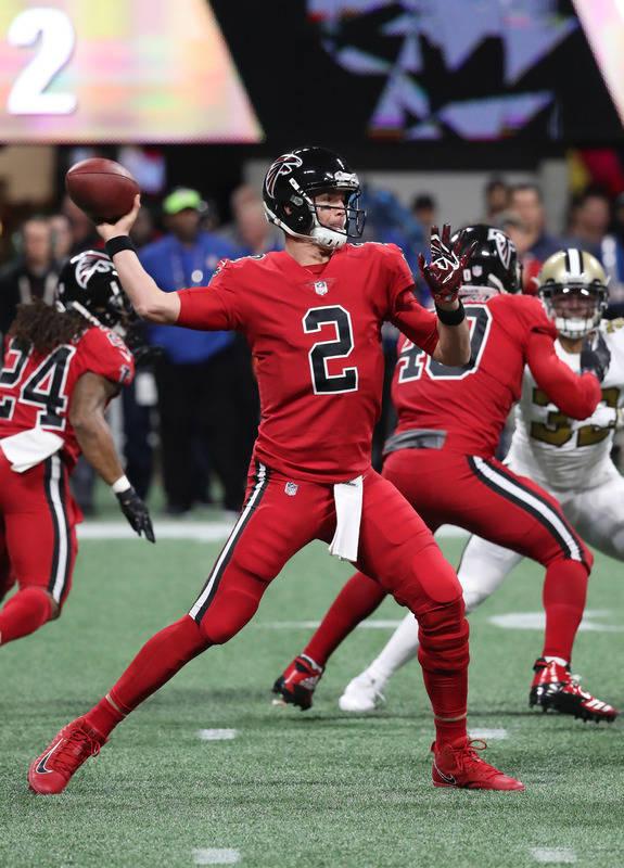Dec 7, 2017; Atlanta, GA, USA; Atlanta Falcons quarterback Matt Ryan (2) attempts a pass in the first quarter against the New Orleans Saints at Mercedes-Benz Stadium. Mandatory Credit: Jason Getz- ...