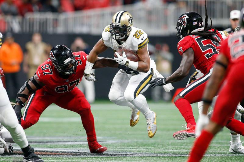 Dec 7, 2017; Atlanta, GA, USA; New Orleans Saints running back Mark Ingram (22) runs the ball against the Atlanta Falcons in the second quarter at Mercedes-Benz Stadium. Mandatory Credit: Brett Da ...