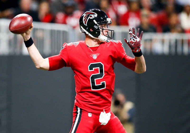 Dec 7, 2017; Atlanta, GA, USA; Atlanta Falcons quarterback Matt Ryan (2) throws a pass against the New Orleans Saints in the second quarter at Mercedes-Benz Stadium. Mandatory Credit: Brett Davis- ...