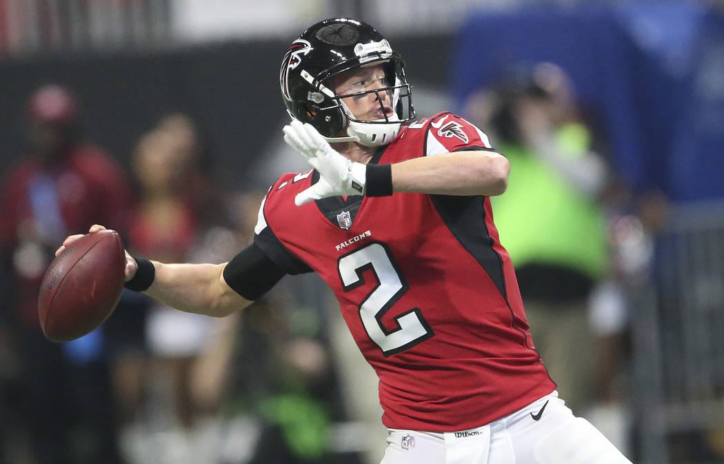 Atlanta Falcons quarterback Matt Ryan (2) works in the pocket against the Minnesota Vikings during the first half of an NFL football game, Sunday, Dec. 3, 2017, in Atlanta. (AP Photo/John Bazemore)