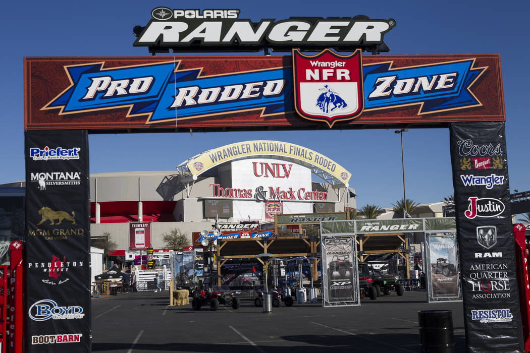The parking lot outside of the Thomas & Mack Center in Las Vegas, Wednesday, Dec. 6, 2017. The National Finals Rodeo starts Thursday, Dec. 7. (Erik Verduzco/Las Vegas Review-Journal) @Erik_Ver ...