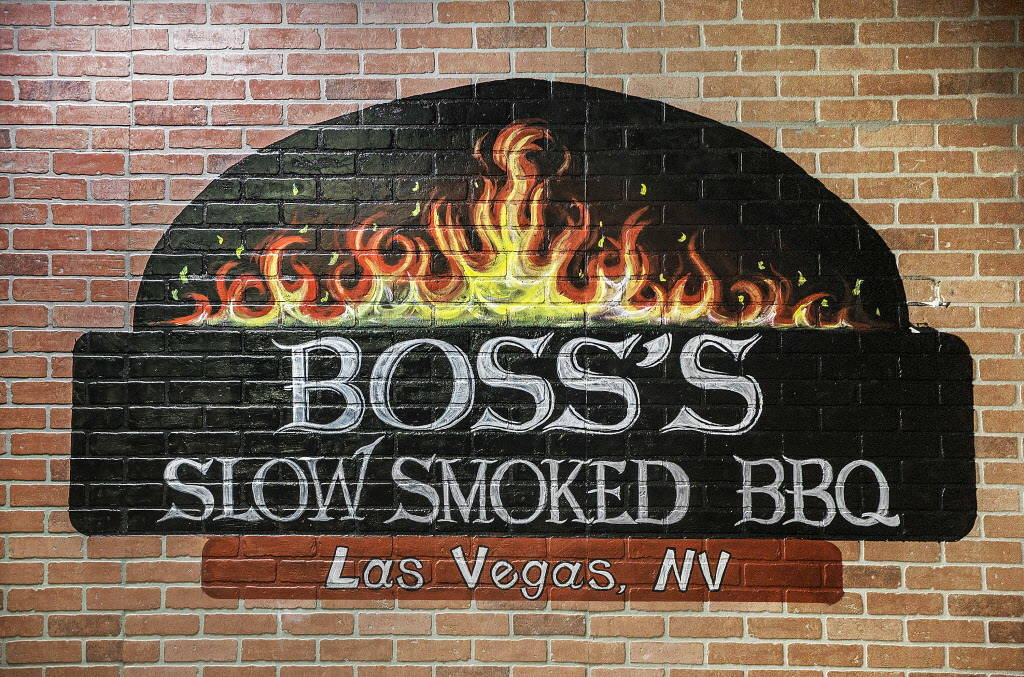 Signage in the dinning room at Boss' Slow Smoked BBQ on Friday, Dec. 8, 2017, in Las Vegas. Benjamin Hager Las Vegas Review-Journal @benjaminhphoto