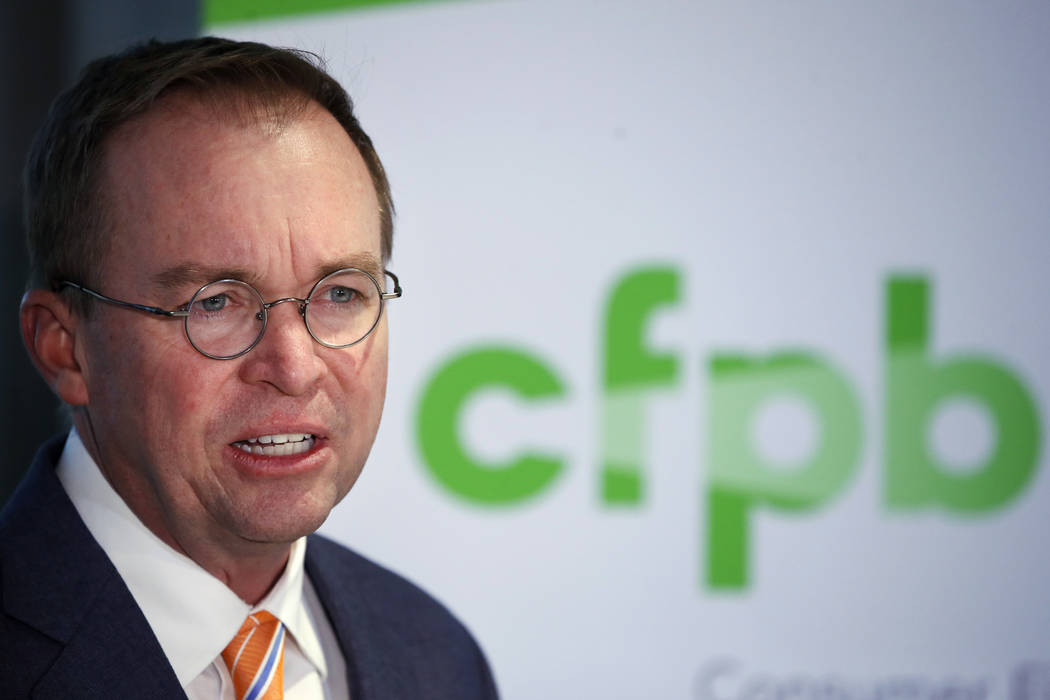 Mick Mulvaney speaks during a news conference after his first day as acting director of the Consumer Financial Protection Bureau in Washington, Monday, Nov. 27, 2017. (Jacquelyn Martin/AP)
