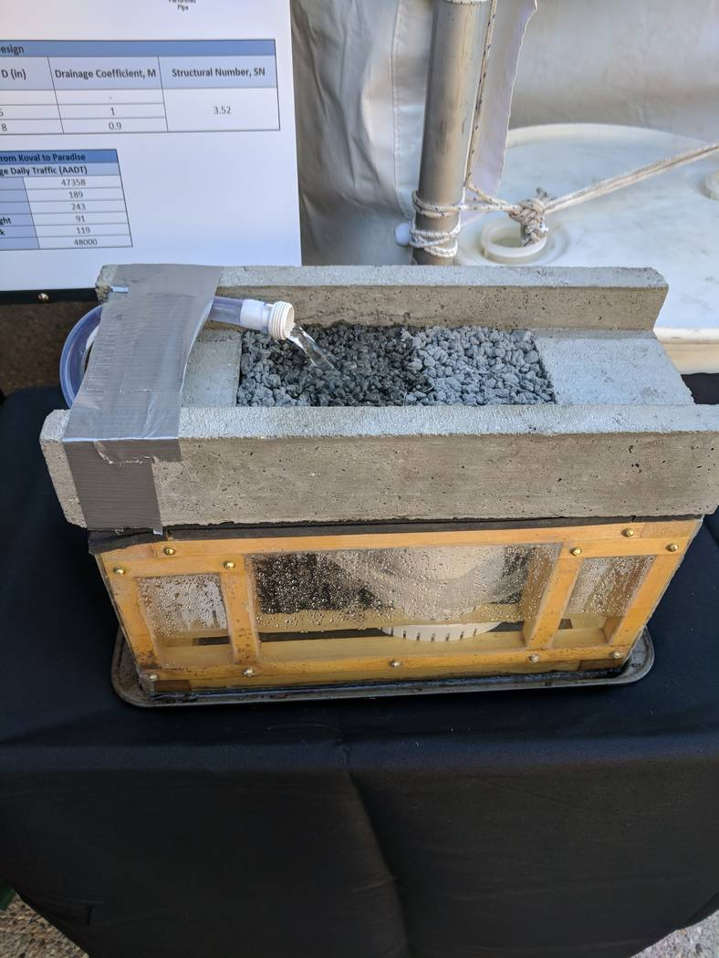 A prototype shows the porous pavement which would mitigate the flooding by reducing the load on the catch basin.