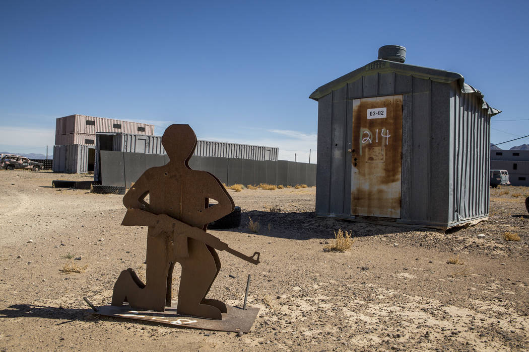 """A metal target waits for action in """"Gotham City,"""" an urban warfare facility at the Nevada Test and Training Range, on Sunday, May 21, 2017. Patrick Connolly Las Vegas Review-Journal @PConnPie"""