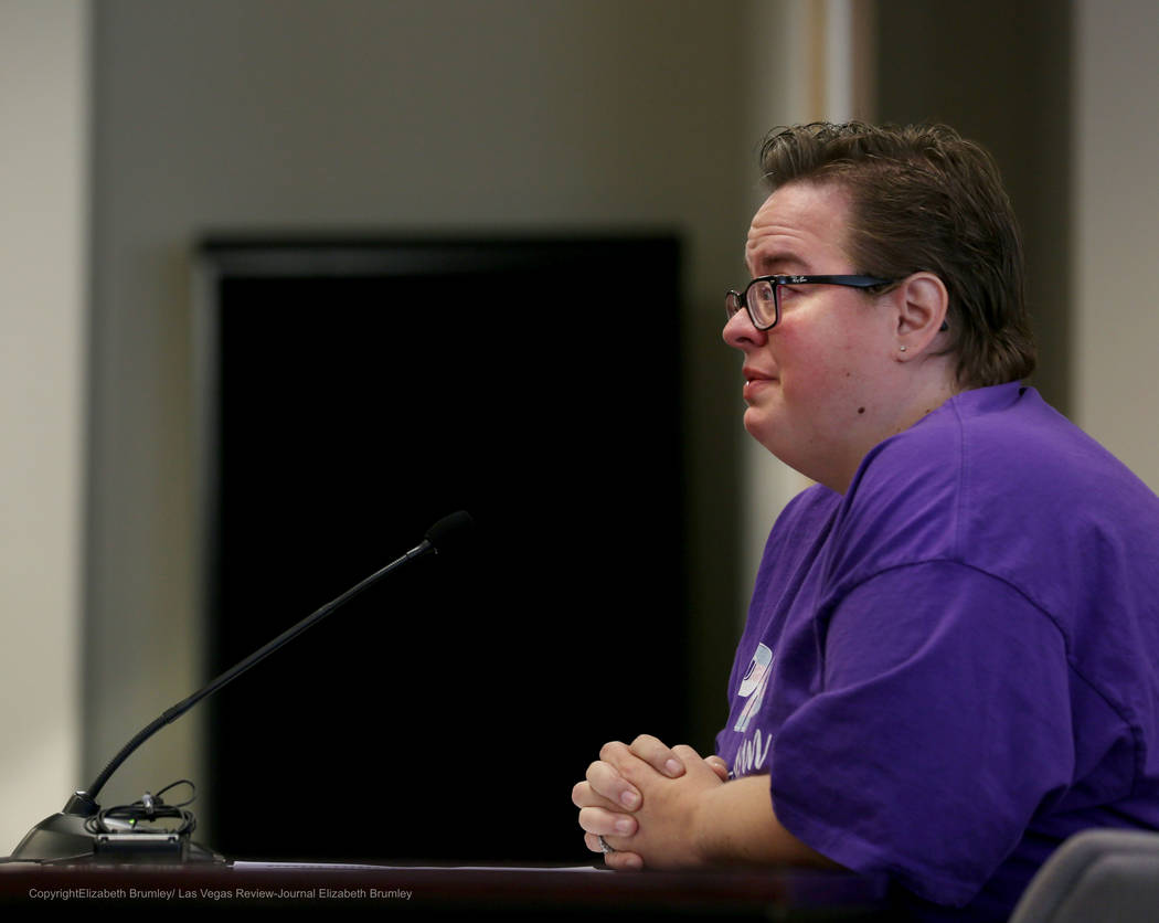 Jennifer Roberson shares her transgender child's story  during a meeting regarding transgender policies for the Clark County School District at  Nevada Department of Education in Las Vegas, Tuesda ...