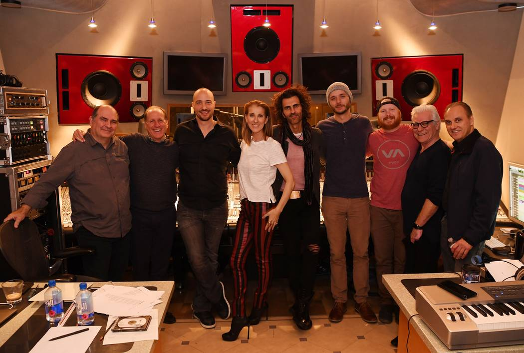 Celine Dion is shown with members of her production team at the Studio at the Palms on Tuesday, Dec. 5, 2017. From left: Engineer Denis Savage, Sony Music executive John Doelp, engineer Francois L ...