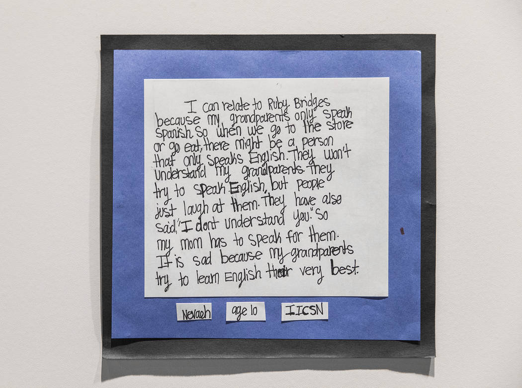 """A letter from a 10-year-old Nevada student explaining how they can relate to the struggles of Ruby Bridges is displayed at the new Springs Preserve exhibit, """"The Power of Children&quo ..."""
