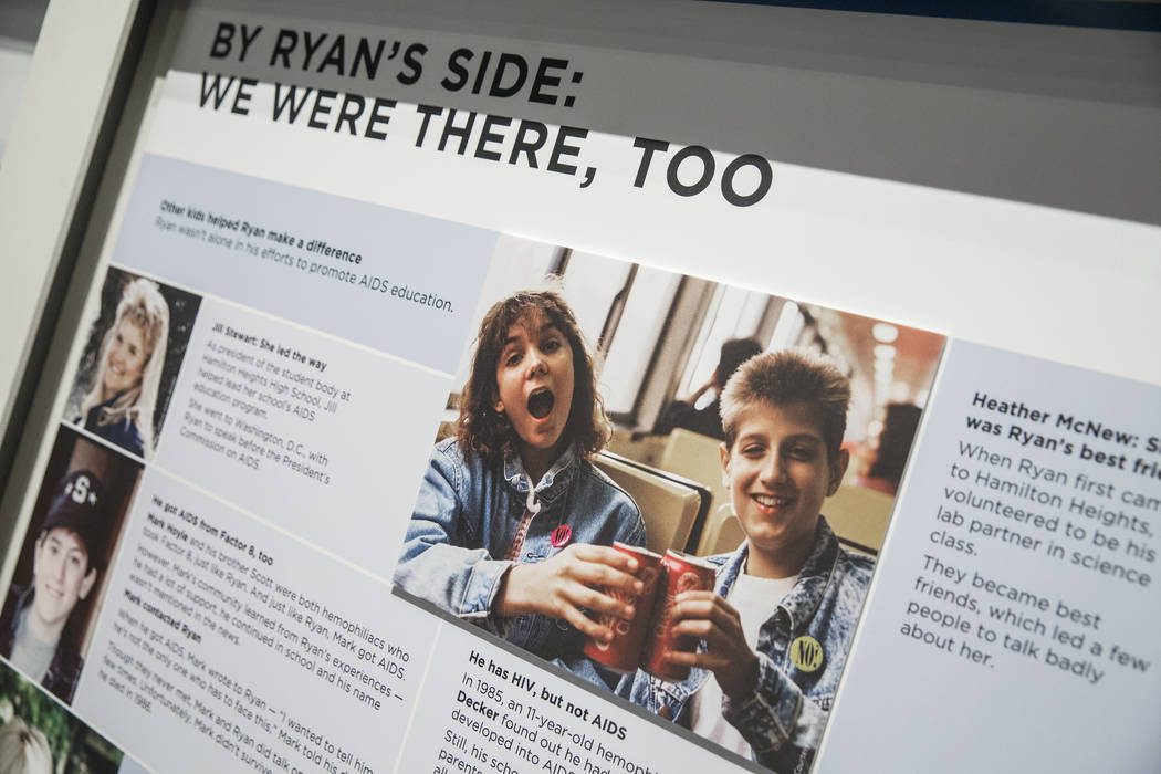 """A display outlining Ryan White's story at the new Springs Preserve exhibit, """"The Power of Children"""" on Wed., Dec. 13, 2017, in Las Vegas. White was an Indiana teenager who gained ..."""