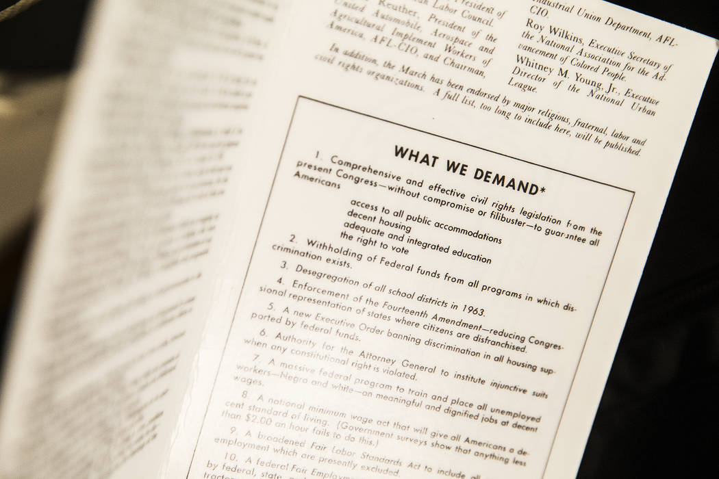 """A leaflet detailing the demands of Dr. Martin Luther King and the protesters that marched on Washington in 1963 at the new Springs Preserve exhibit, """"The Power of Children"""" on We ..."""