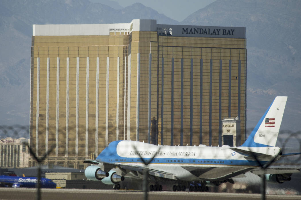 Air Force One before taking off from McCarran International Airport in Las Vegas, Wednesday, Oct. 4, 2017. President Donald Trump and his wife, Melania, met with victims and heroes of Sunday&#x201 ...