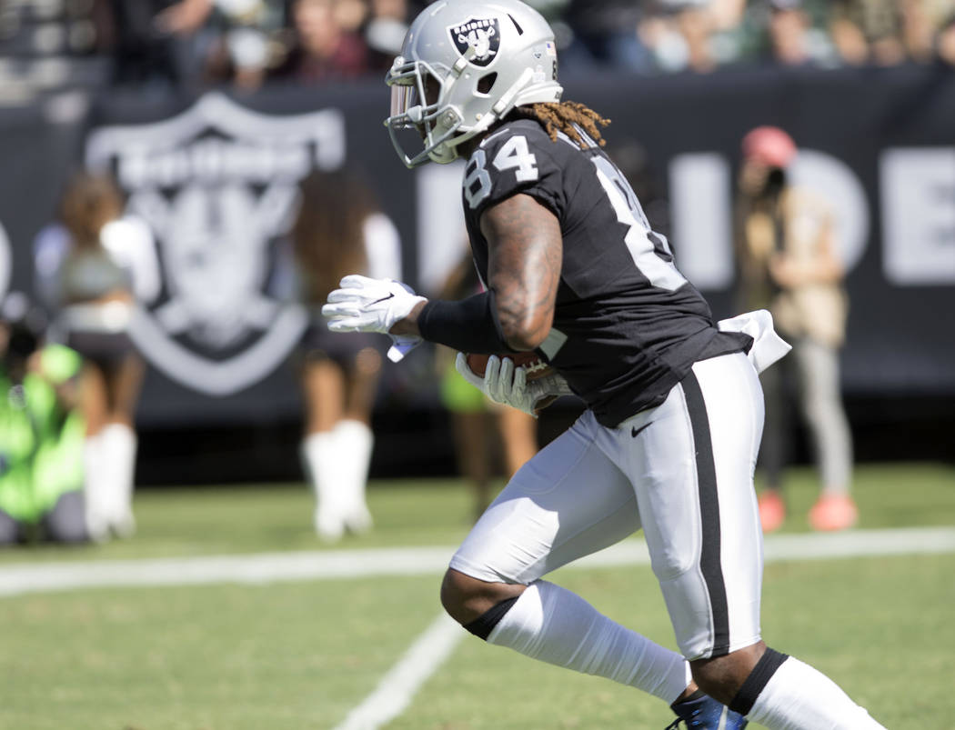 Oakland Raiders wide receiver Cordarrelle Patterson (84) runs out of the end zone on a kickoff return in the first half of their game against the Baltimore Ravens in Oakland, Calif. , Sunday, Oct. ...