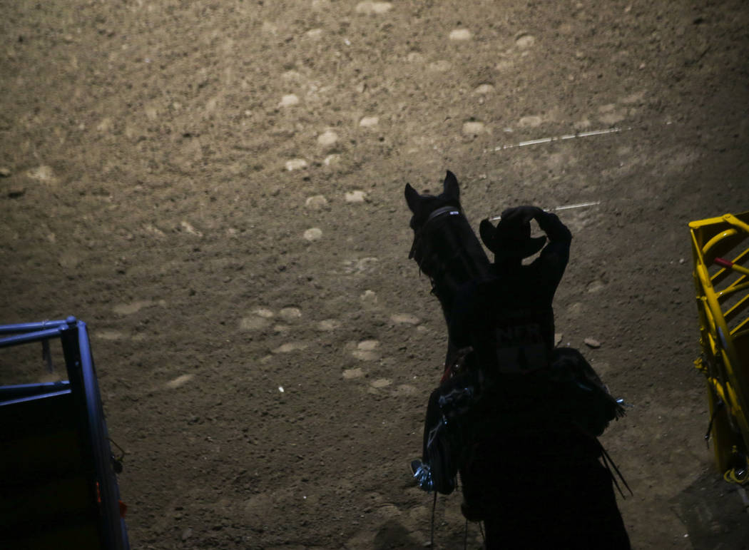 Jacobs Crawley is introduced during the opening ceremony on the first night of the National Finals Rodeo at the Thomas & Mack Center in Las Vegas on Thursday, Dec. 7, 2017. Chase Stevens Las V ...