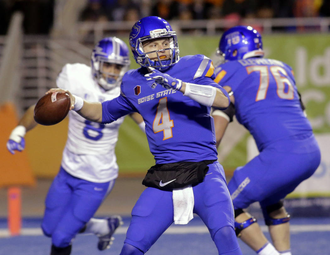 Boise State quarterback Brett Rypien (4) passes the ball during the first half of an NCAA college football game against Air Force in Boise, Idaho, Saturday, Nov. 18, 2017. (AP Photo/Otto Kitsinger)