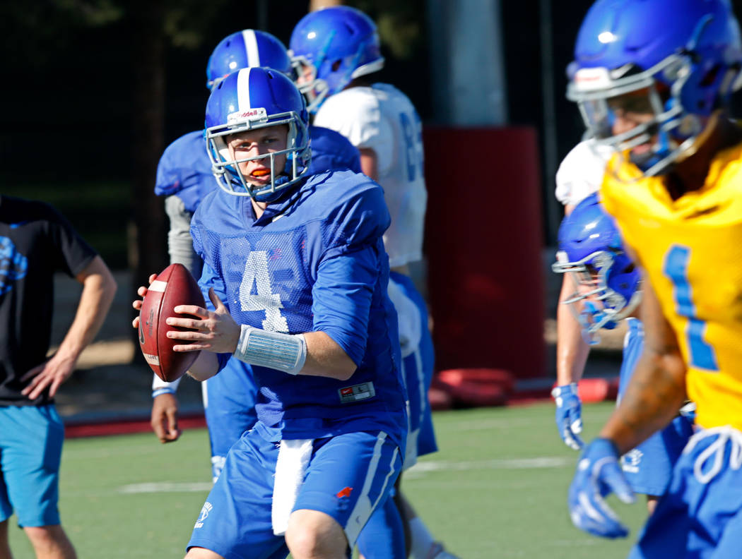 Boise State Broncos quarterback Brett Rypien (4) throws a ball during a football practice at UNLV Rebel Park in Las Vegas, Wednesday, Dec. 13, 2017. Boise State Broncos and Oregon Ducks meet on Sa ...