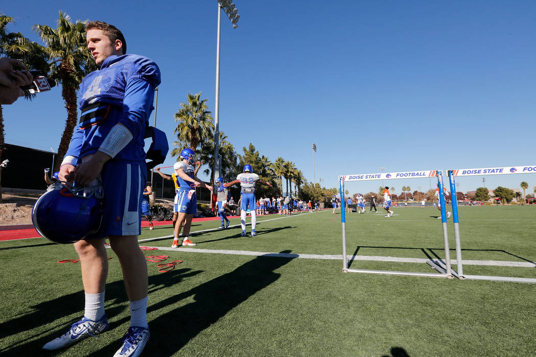 Boise State Broncos quarterback Brett Rypien (4) speaks to reporters during a football practice at UNLV Rebel Park in Las Vegas, Wednesday, Dec. 13, 2017. Boise State Broncos and Oregon Ducks meet ...