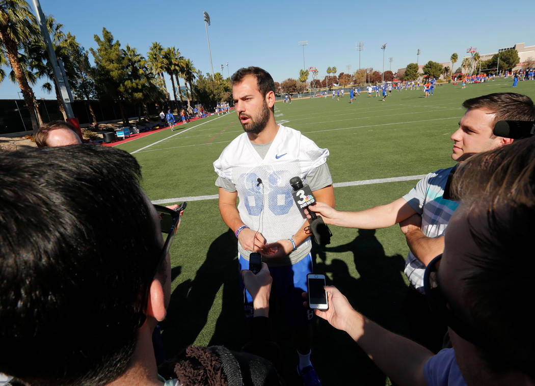 Boise State Broncos tight end Jake Roh (88) speaks to reporters during a football practice at UNLV Rebel Park in Las Vegas, Wednesday, Dec. 13, 2017. Boise State Broncos and Oregon Ducks meet on S ...