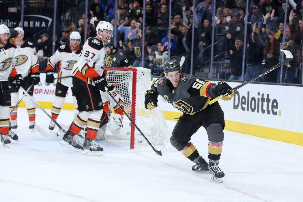 Vegas Golden Knights left wing Erik Haula (56) celebrates after a goal that tied the game against Anaheim Ducks during the third period at T-Mobile Arena in Las Vegas, Tuesday, Dec. 5, 2017. Bridg ...