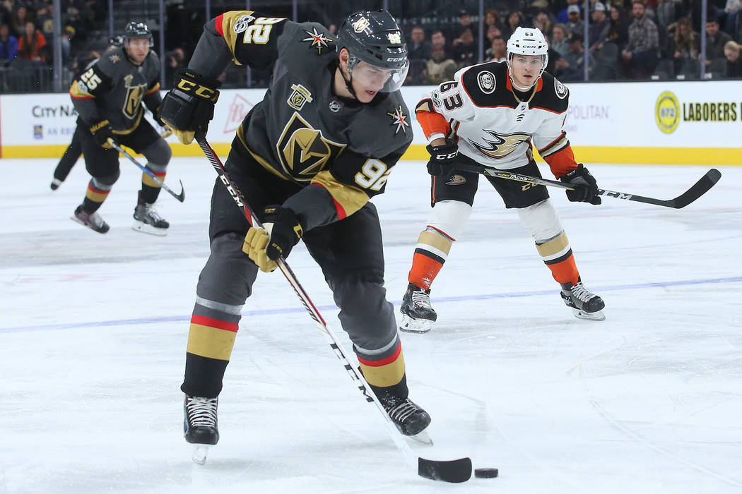 Vegas Golden Knights left wing Tomas Nosek (92) handles the puck during the first period of the game against Anaheim Ducks at T-Mobile Arena in Las Vegas, Tuesday, Dec. 5, 2017. Bridget Bennett La ...