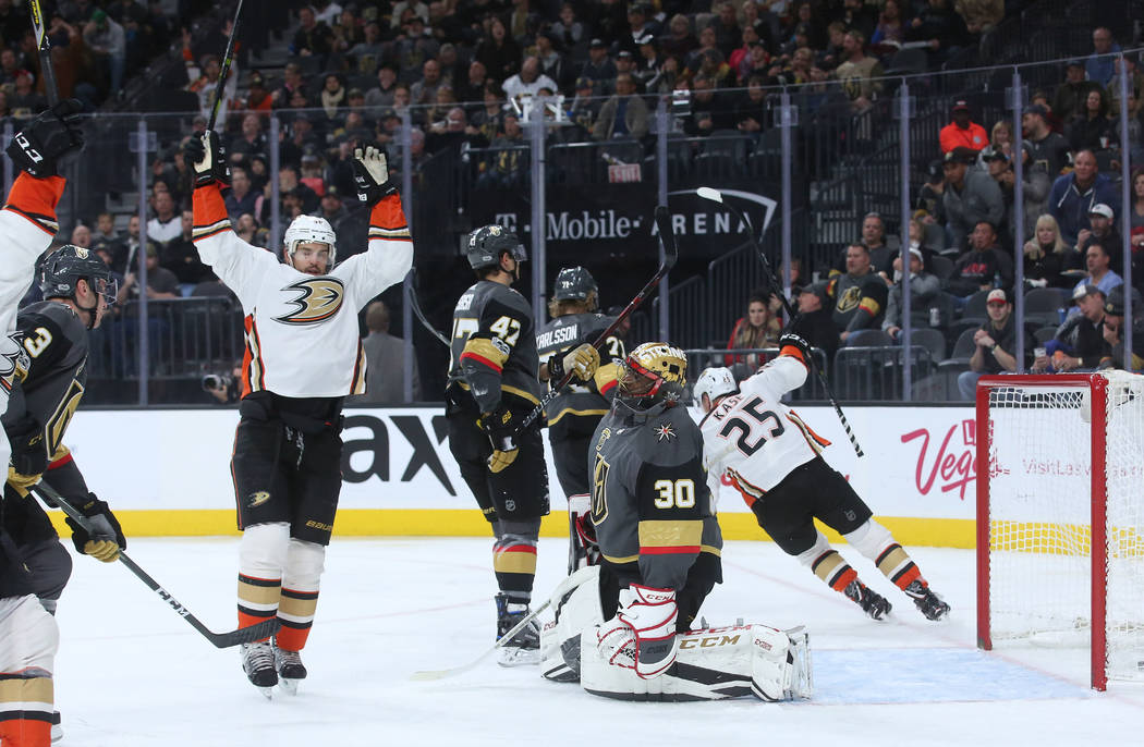 Anaheim Ducks players celebrate after a goal is made on Vegas Golden Knights goalie Malcolm Subban (30) during the second period at T-Mobile Arena in Las Vegas, Tuesday, Dec. 5, 2017. Bridget Benn ...