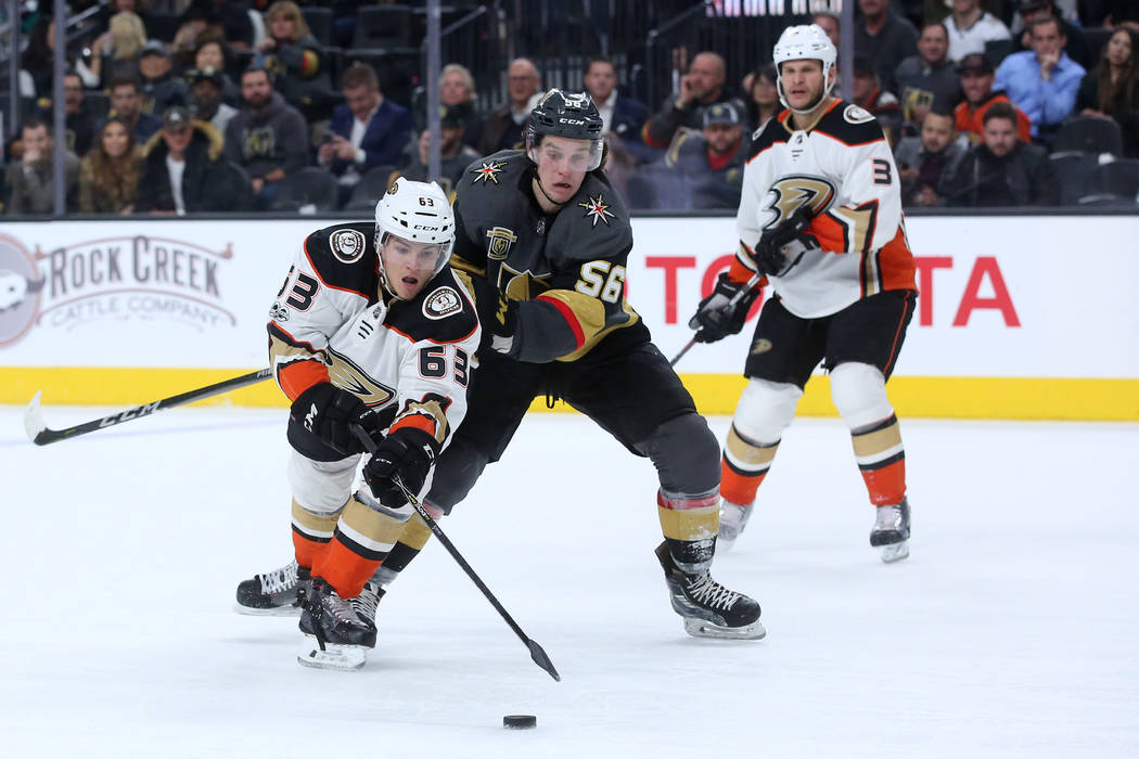 Anaheim Ducks left wing Kevin Roy (63) and Vegas Golden Knights left wing Erik Haula (56) chase after the puck during the third period at T-Mobile Arena in Las Vegas, Tuesday, Dec. 5, 2017. Bridge ...