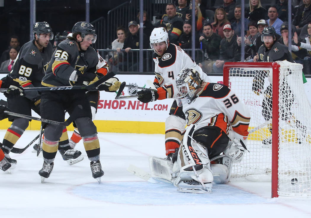 Vegas Golden Knights left wing Erik Haula (56) makes a goal that ties the game against Anaheim Ducks during the third period at T-Mobile Arena in Las Vegas, Tuesday, Dec. 5, 2017. Bridget Bennett  ...
