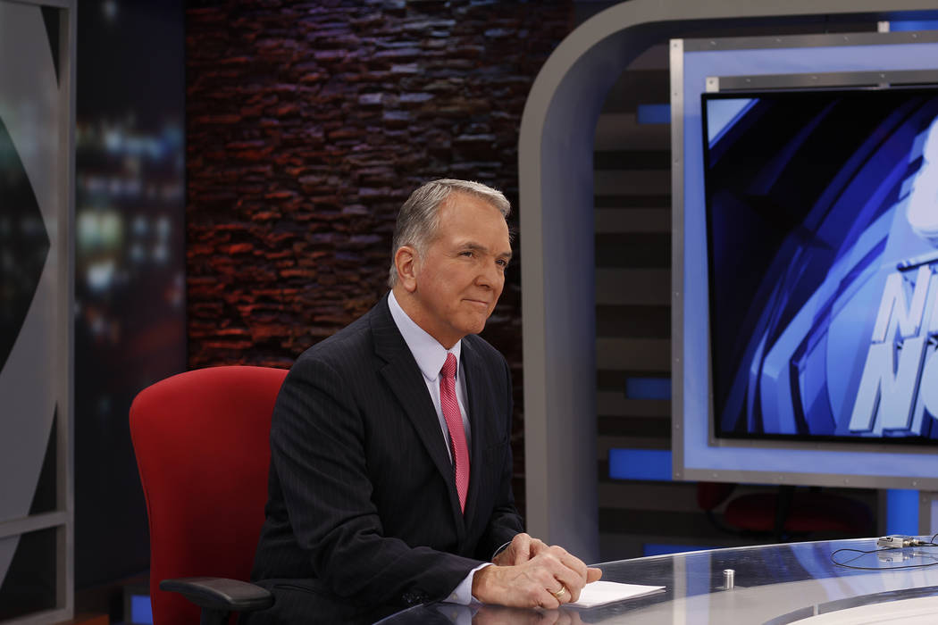 Dave Courvoisier is photographed at the KLAS-TV, Channel 8, anchor desk, which he's inhabited since 2003. (KLAS-TV)
