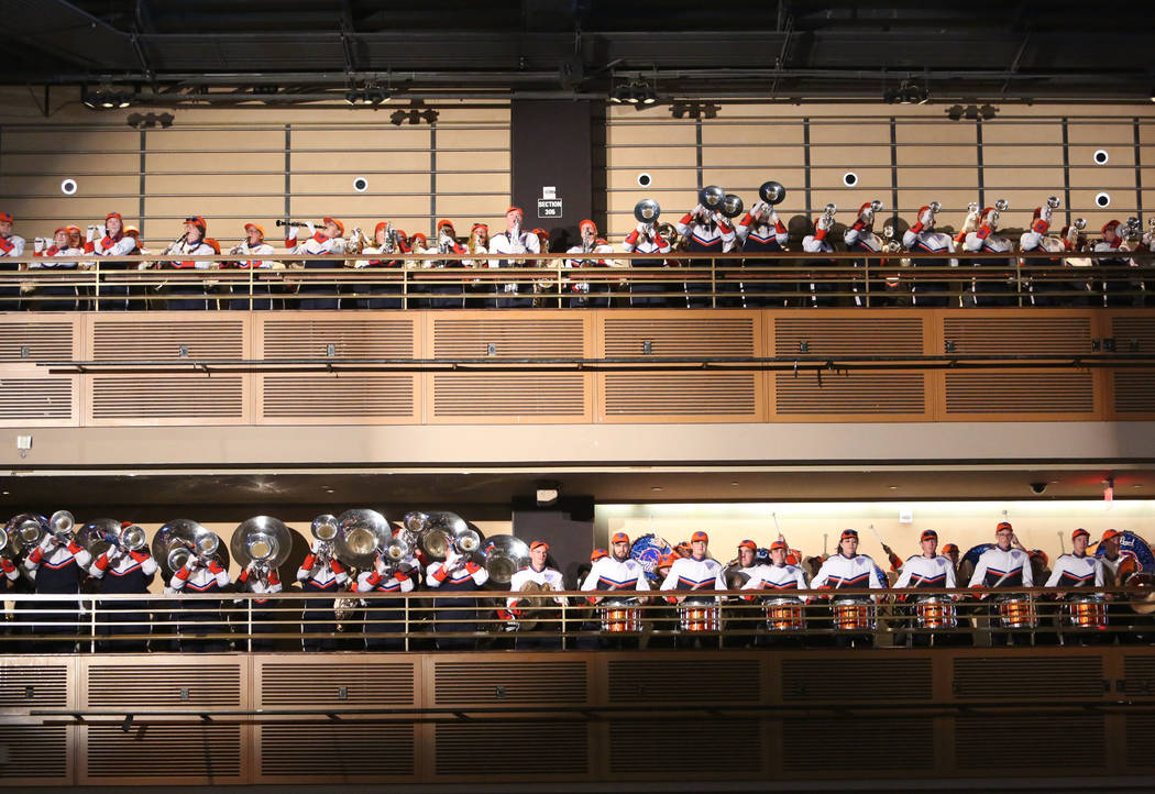 The Boise State Marching Band perform during a Las Vegas Bowl luncheon at the Hard Rock hotel-casino on Friday, Dec. 15, 2017, in Las Vegas. Bizuayehu Tesfaye Las Vegas Review-Journal @bizutesfaye
