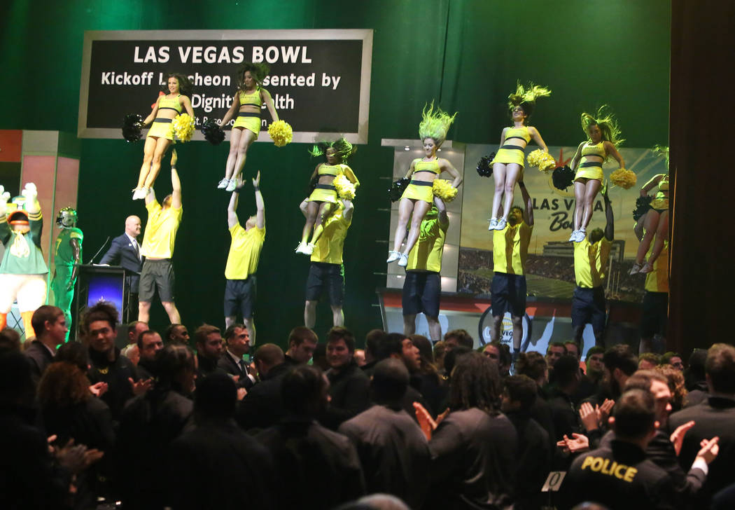 The Oregon State Marching Band perform during a Las Vegas Bowl luncheon at the Hard Rock hotel-casino on Friday, Dec. 15, 2017, in Las Vegas. Bizuayehu Tesfaye Las Vegas Review-Journal @bizutesfaye